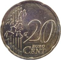 reverse of 20 Euro Cent - 1'st Map (1999 - 2006) coin with KM# 1286 from France. Inscription: 20 EURO CENT LL