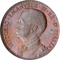 obverse of 1 Besa - Vittorio Emanuele III (1909 - 1921) coin with KM# 1 from Italian Somaliland. Inscription: VITTORIO · EMANVELE · III · RE · D' ITALIA