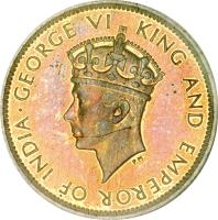 obverse of 1 Farthing - George VI (1937) coin with KM# 27 from Jamaica. Inscription: · GEORGE VI KING AND EMPEROR OF INDIA