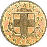 reverse of 1 Farthing - George VI (1937) coin with KM# 27 from Jamaica. Inscription: JAMAICA 19 37 FARTHING