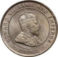 obverse of 1 Penny - Edward VII (1902 - 1903) coin with KM# 20 from Jamaica. Inscription: EDWARD VII KING AND EMPEROR . 1902 .