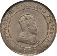 obverse of 1/2 Penny - Edward VII (1902 - 1903) coin with KM# 19 from Jamaica. Inscription: EDWARD VII KING AND EMPEROR · 1902 ·