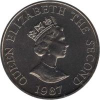 obverse of 2 Pounds - Elizabeth II - Pink Pigeon (1987) coin with KM# 70 from Jersey. Inscription: QUEEN ELIZABETH THE SECOND RDM 1987