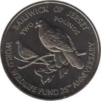 reverse of 2 Pounds - Elizabeth II - Pink Pigeon (1987) coin with KM# 70 from Jersey. Inscription: BAILIWICK OF JERSEY TWO POUNDS WORLD WILDLIFE FUND 25TH ANNIVERSARY