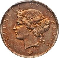obverse of 1 Cent (1896 - 1906) coin with KM# 5 from Liberia. Inscription: REPUBLIC OF LIBERIA