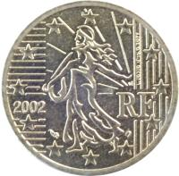 obverse of 50 Euro Cent - 1'st Map (1999 - 2006) coin with KM# 1287 from France. Inscription: RF 1999 L. JORIO d'ap. O. ROTY