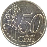reverse of 50 Euro Cent - 1'st Map (1999 - 2006) coin with KM# 1287 from France. Inscription: 50 EURO CENT LL