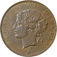 obverse of 2 Cents (1896 - 1906) coin with KM# 6 from Liberia. Inscription: REPUBLIC OF LIBERIA