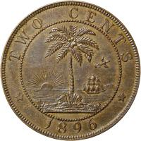 reverse of 2 Cents (1896 - 1906) coin with KM# 6 from Liberia. Inscription: TWO CENTS * 1896 *