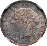 obverse of 10 Cents (1896 - 1906) coin with KM# 7 from Liberia. Inscription: REPUBLIC OF LIBERIA H