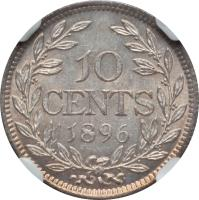 reverse of 10 Cents (1896 - 1906) coin with KM# 7 from Liberia. Inscription: 10 CENTS 1896