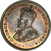 obverse of 1 Cent - George V (1911 - 1924) coin with KM# 12 from Mauritius. Inscription: · GEORGE V KING AND EMPEROR OF INDIA