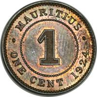 reverse of 1 Cent - George V (1911 - 1924) coin with KM# 12 from Mauritius. Inscription: · MAURITIUS · 1 ONE CENT 1922