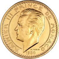 obverse of 50 Francs - Ranier III (1950) coin with KM# E32 from Monaco. Inscription: RAINIER II PRINCE DE MONACO 1950