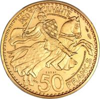 reverse of 50 Francs - Ranier III (1950) coin with KM# E32 from Monaco. Inscription: DEO JUVANTE 50 FRANCS