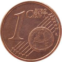 reverse of 1 Euro Cent (2002 - 2016) coin with KM# 181 from Greece. Inscription: 1 EURO CENT LL