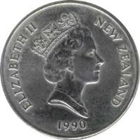 obverse of 20 Cents - Elizabeth II - 150th Anniversary Celebrations (1990) coin with KM# 74 from New Zealand. Inscription: ELIZABETH II NEW ZEALAND 1990
