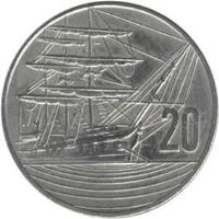 reverse of 20 Cents - Elizabeth II - 150th Anniversary Celebrations (1990) coin with KM# 74 from New Zealand. Inscription: 20