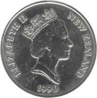 obverse of 50 Cents - Elizabeth II - Treaty of Waitangi (1990) coin with KM# 75 from New Zealand. Inscription: ELIZABETH II NEW ZEALAND 1990