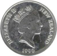 obverse of 10 Cents - Elizabeth II - Treaty of Waitangi (1990) coin with KM# 73 from New Zealand. Inscription: ELIZABETH II NEW ZEALAND 1990