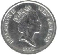 obverse of 5 Cents - Elizabeth II - Treaty of Waitangi (1990) coin with KM# 72 from New Zealand. Inscription: ELIZABETH II NEW ZEALAND 1990
