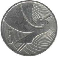 reverse of 5 Cents - Elizabeth II - Treaty of Waitangi (1990) coin with KM# 72 from New Zealand. Inscription: 5
