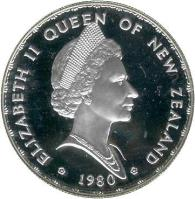obverse of 1 Dollar - Elizabeth II - Fantail bird - Silver Proof Issue (1980) coin with KM# 49a from New Zealand. Inscription: ELIZABETH II QUEEN OF NEW ZEALAND * 1980 *