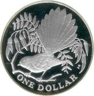 reverse of 1 Dollar - Elizabeth II - Fantail bird - Silver Proof Issue (1980) coin with KM# 49a from New Zealand. Inscription: ONE DOLLAR JB