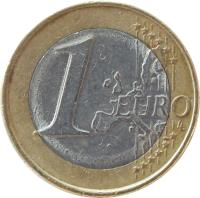 reverse of 1 Euro - 1'st Map (2002 - 2006) coin with KM# 187 from Greece. Inscription: 1 EURO LL
