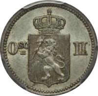 obverse of 10 Øre / 3 Skilling - Oscar II (1874 - 1875) coin with KM# 345 from Norway. Inscription: Osc II