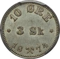 reverse of 10 Øre / 3 Skilling - Oscar II (1874 - 1875) coin with KM# 345 from Norway. Inscription: 10 ØRE 3 Sk 1874