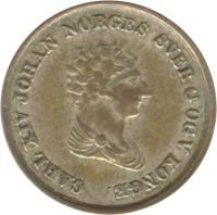 obverse of 4 Skilling - Carl XIV Johan (1842) coin with KM# 311 from Norway. Inscription: KONGE CARL XIV JOHAN NORGES SVER G OGV
