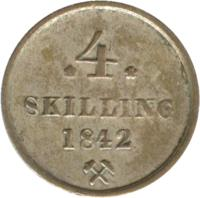 reverse of 4 Skilling - Carl XIV Johan (1842) coin with KM# 311 from Norway. Inscription: * 4 * SKILLING 1842