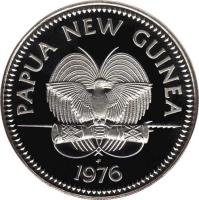 obverse of 5 Kina - Elizabeth II - Silver Proof Issue (1975 - 1980) coin with KM# 7a from Papua New Guinea. Inscription: PAPUA NEW GUINEA f 1976