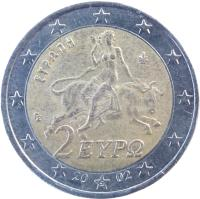 obverse of 2 Euro - 1'st Map (2002 - 2006) coin with KM# 188 from Greece. Inscription: 2 ΕΥΡΩ ΕΥΡΩΠΗ 2002 ΓΣ