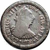 obverse of 1/2 Real - Carlos III (1772 - 1784) coin with KM# 74 from Peru. Inscription: CAROLUS · III · DEI · GRATIA · 1785