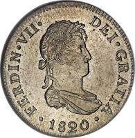 obverse of 2 Reales - Fernando VII - 2'nd Type (1811 - 1826) coin with KM# 115 from Peru. Inscription: FERDIN · VII · DEI · GRATIA · 1816 ·