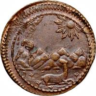 obverse of 1/8 Peso - Provisional Coinage (1823) coin with KM# 137 from Peru.