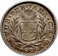 obverse of 1/2 Real (1826 - 1856) coin with KM# 144 from Peru.