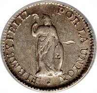 reverse of 1/2 Real (1826 - 1856) coin with KM# 144 from Peru.