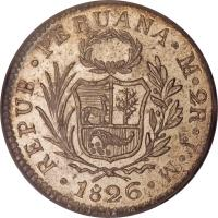 obverse of 2 Reales (1825 - 1840) coin with KM# 141 from Peru. Inscription: REPUB. PERUANA. LIMAE. 2R. J.M. 1830