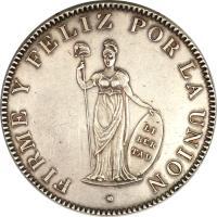 reverse of 8 Reales (1825 - 1857) coin with KM# 142 from Peru. Inscription: FIRME Y FELIZ POR LA UNIÓN