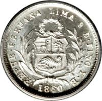obverse of 1/2 Real - Transitional Coinage (1859 - 1861) coin with KM# 180 from Peru. Inscription: REPUB PERUANA LIMA 9 D FINO Y B 1860