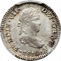 obverse of 1/2 Real - Fernando VII - Colonial Milled Coinage (1811 - 1821) coin with KM# 113 from Peru. Inscription: FERDIN-VII-DEI-GRATIA-