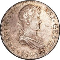 obverse of 8 Reales - Fernando VII - Colonial Milled Coinage (1811 - 1824) coin with KM# 117 from Peru. Inscription: FERDIN · VII · DEI · GRATIA · 1814 ·