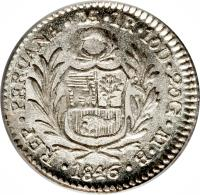 obverse of 1 Real (1826 - 1856) coin with KM# 145 from Peru. Inscription: REPUB. PERUANA