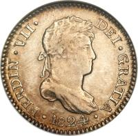 obverse of 1 Real - Ferdinand VII - Colonial Milled Coinage (1811 - 1824) coin with KM# 114 from Peru. Inscription: FERDIN.VII DEI.GRATIA 1821