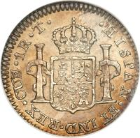 reverse of 1 Real - Ferdinand VII - Colonial Milled Coinage (1811 - 1824) coin with KM# 114 from Peru. Inscription: · HISPAN · ET IND · REX · LME · 1R · J · P ·