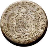 obverse of 1/2 Dinero - South Peru (1863 - 1864) coin with KM# 189 from Peru. Inscription: REPUB * PERUANA LIMA 9 D: FINO Y.B. 1864