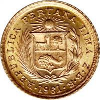 obverse of 1/5 Libra - Trade Coinage (1906 - 1969) coin with KM# 210 from Peru. Inscription: REPUBLICA PERUANA LIMA · Z · B · R · 1963 ·